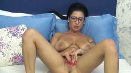 Pink Pussy Shown By Tattooed Girl In Glasses
